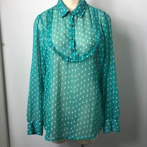 Austin Reed sheer vintage style pop over top XL